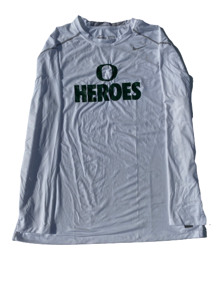 "E.J. Singler Oregon Player Exclusive ""Heroes"" Game Shooting Shirt (Size XXL Compression)"