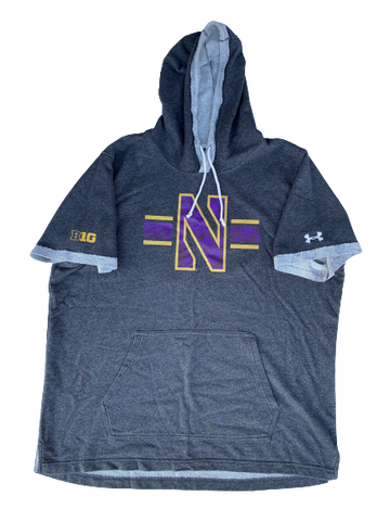 Gunnar Vogel Northwestern Football PE Short Sleeve Hoodie with #73 (Size XXL)