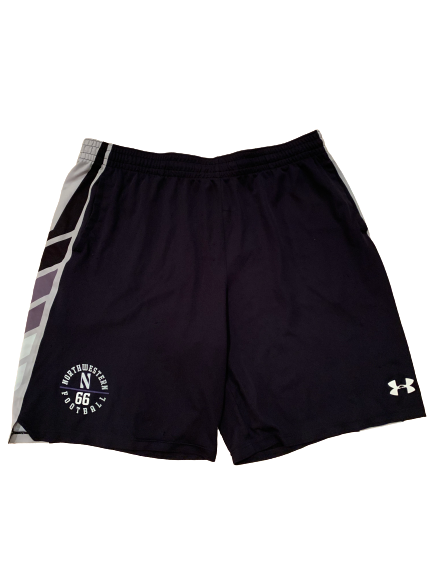 Nik Urban Northwestern Football Team Issued Shorts with Number (Size XXL)
