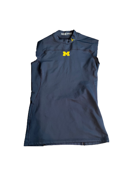 Quinn Nordin Michigan Football Team Issued Hand-Cut Turtleneck Tank (Size L)