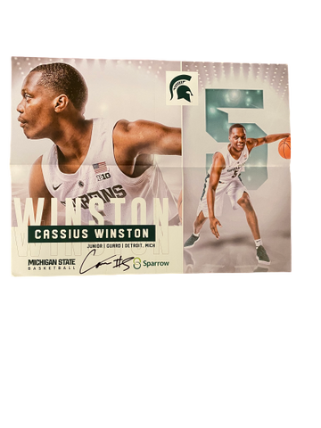 Cassius Winston Michigan State Basketball Signed Poster
