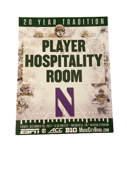 "Northwestern Football 2017 Music City Bowl ""Player Hospitality Room"" 28x22 Poster Signed by Ramaud Chiaokhiao-Bowman"