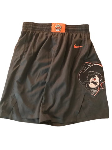 Jonathan Laurent Oklahoma State 2019-2020 Black Game Worn Shorts