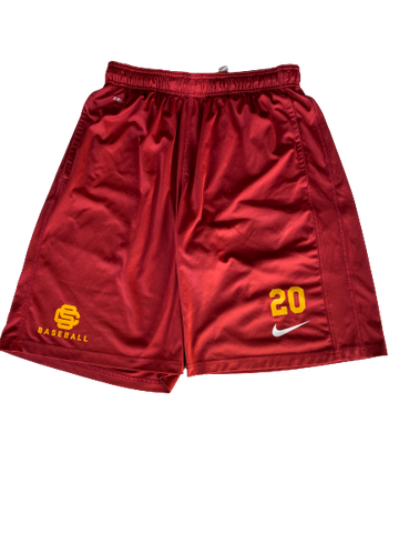 Austin Manning USC Team Issued Practice Shorts with Number (Size L)