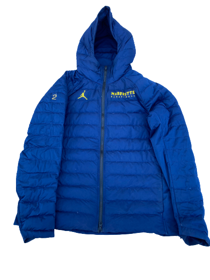 Sacar Anim Marquette Basketball Player Exclusive Winter Jacket with Number on Sleeve (Size L)