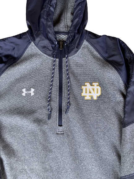 V.J. Beachem Notre Dame Under Armour 1/4 Zip With Hood (Size XL)