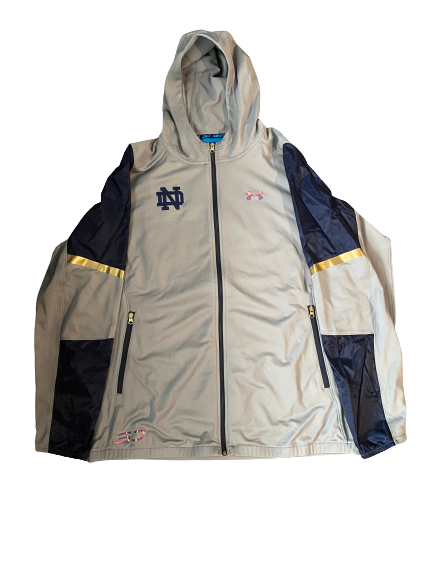 John Mooney Notre Dame Team Issued Steph Curry Brand Jacket (Size XXL)