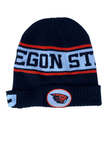 Hunter Jarmon Oregon State Team Issued Beanie Hat with #2
