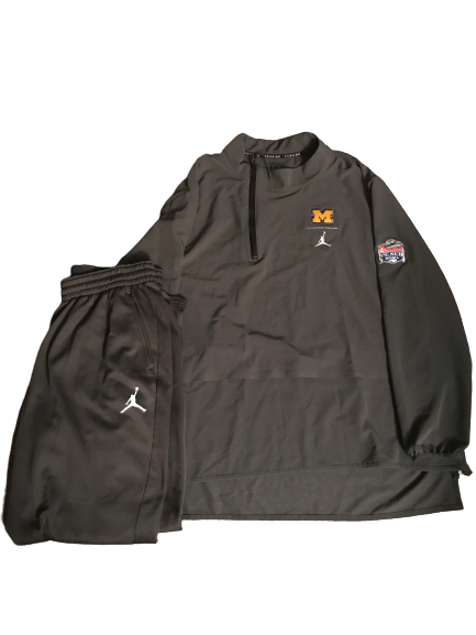 Nolan Ulizio Michigan Team Exclusive Peach Bowl Jordan Travel Set (Quarter-Zip & Sweatpants) (Size XXXL)