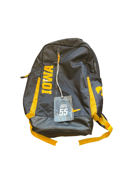 Luka Garza Iowa Basketball Athlete Exclusive Travel Backpack with Player Luggage Tag