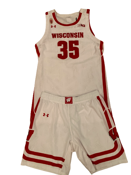 Nate Reuvers Wisconsin Basketball 2020-2021 Game Worn Uniform Set - Photo Matched