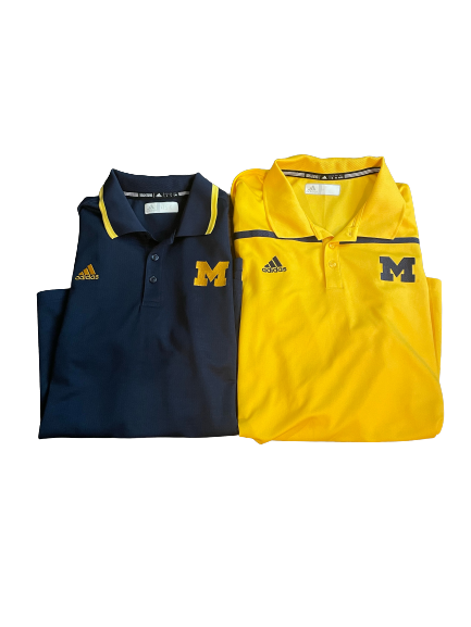 Quinn Nordin Michigan Football Team Issued Set of 2 Polos (Size L, Size XL)