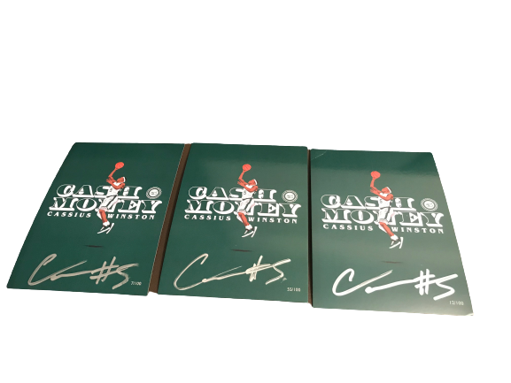 (3) Cassius Winston x The Players Trunk 100 Limited Edition Signed Cards (Imperfect)