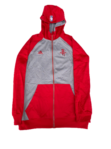 K.J. McDaniels Houston Rockets Adidas Zip-Up Jacket With Hood (Size L +2 Length)
