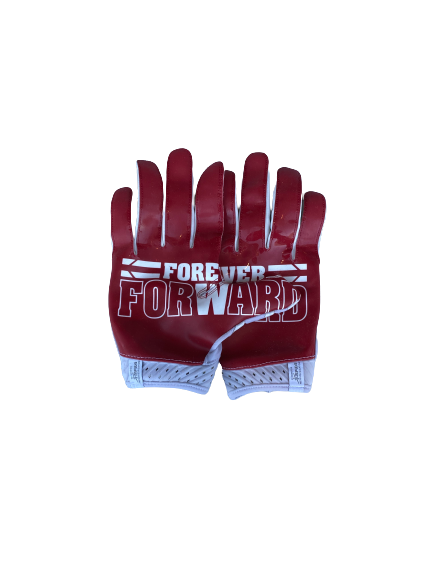 Rachad Wildgoose Wisconsin Football Game Worn Player Exclusive Gloves (Size XL)