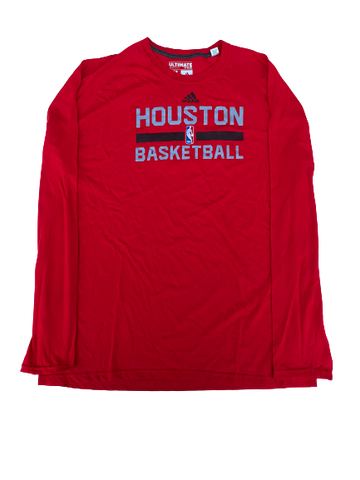 K.J. McDaniels Houston Rockets Team-Issued Adidas Long Sleeve Shirt (Size XLT)