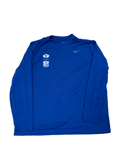 Brady Christensen BYU Football Pro-Day Long Sleeve Shirt (Size XXXL)
