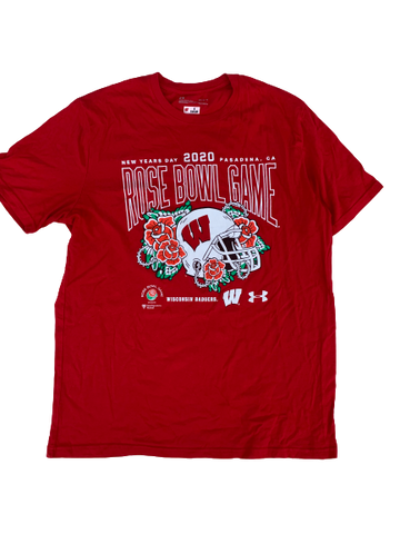 "A.J. Taylor Wisconsin Team Issued ""2020 Rose Bowl"" T-Shirt (Size L)"