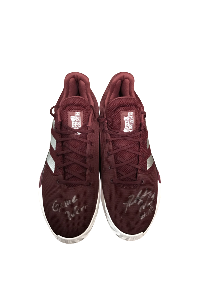 Robert Woodard II Mississippi State Basketball Signed Adidas Bounce Practice-Worn Sneakers (Size 16)