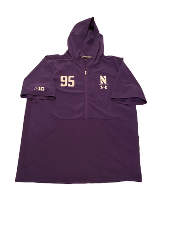Alex Miller Northwestern Football Team Exclusive Pro-Day Half-Zip Short Sleeve Hoodie (Size XXL)