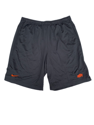 Kaden Polcovich Oklahoma State Team Issued Workout Shorts with Name (Size L)