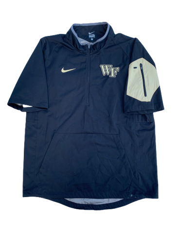 Tabari Hines Wake Forest Team Issued Short Sleeve Quarter-Zip Pullover (Size M)