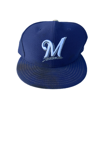 Keegan McCarville Milwaukee Brewers Game Worn Hat (Size 7 1/4)
