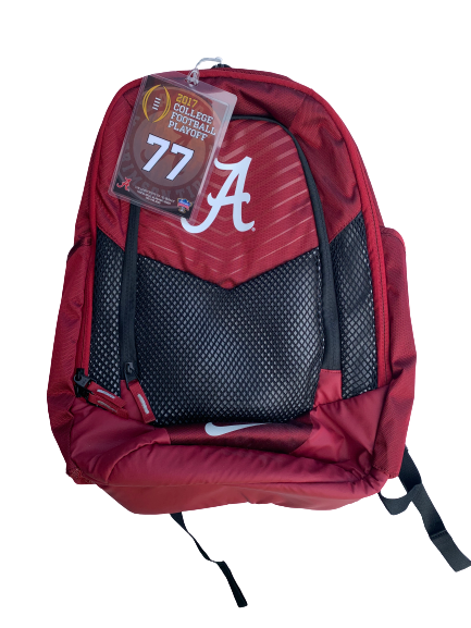 Matt Womack Alabama Player Issued Backpack with 2017 College Football Playoff Travel Tag