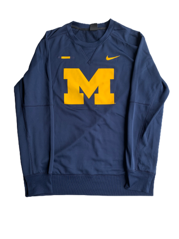 Brendan Warren Michigan Hockey Nike Crewneck With Number (Size L)