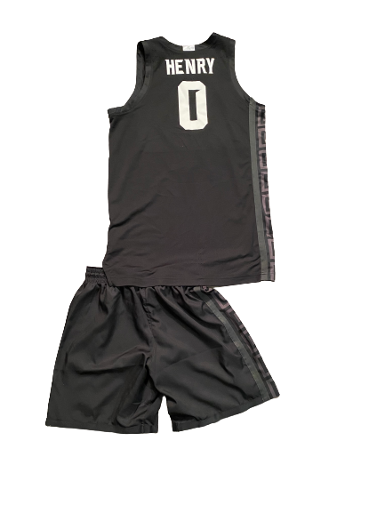Aaron Henry Michigan State Basketball 2020-2021 Game Worn Uniform Set - Photo matched