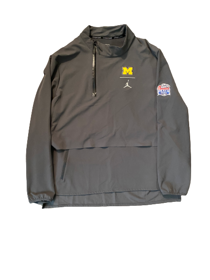 Quinn Nordin Michigan Football Player Exclusive Chick-Fil-A Peach Bowl Quarter Zip Jacket (Size XL)