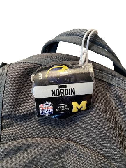 Quinn Nordin Michigan Football Team Issued Chick-Fil-A Peach Bowl Backpack with Travel Tag