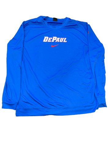 Eli Cain DePaul Basketball Team Exclusive Pre-Game Long Sleeve Shooting Shirt (Size XXL)