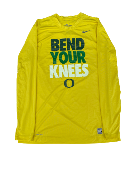 "E.J. Singler Oregon Player Exclusive ""Bend Your Knees"" Game Shooting Shirt (Size XL Compression)"