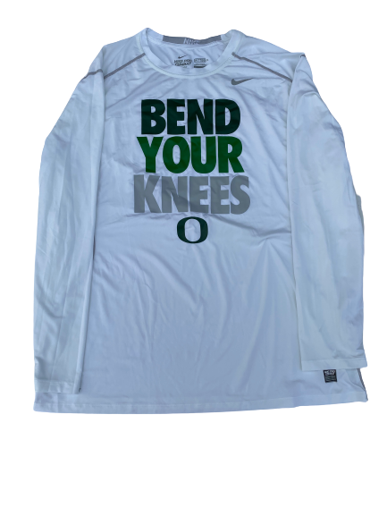 "E.J. Singler Oregon Player Exclusive ""Bend Your Knees"" Game Shooting Shirt (Size XXL Compression)"