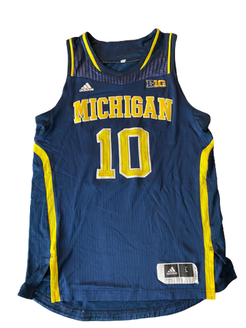 Derrick Walton Jr. Michigan Basketball Signed 2013-2014 Game Worn Jersey