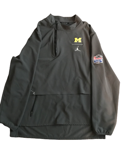Shea Patterson Michigan Team Issued Jordan 2018 Peach Bowl Quarter-Zip Pullover Jacket (Size L)