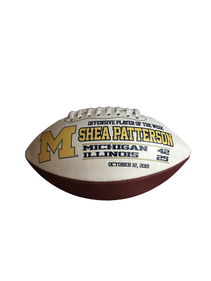 Shea Patterson Michigan Offensive Player of the Week Game Ball (10/12/19)