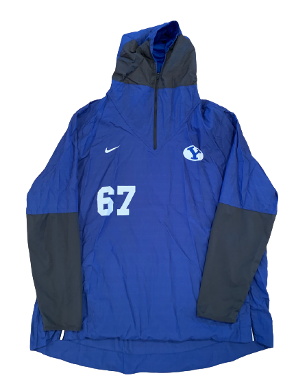 Brady Christensen BYU Football Player-Exclusive 1/4 Zip Windbreaker With Name and Number (Size XXXL)