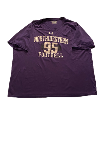 Alex Miller Northwestern Football Workout Shirt with Number (Size XXL)