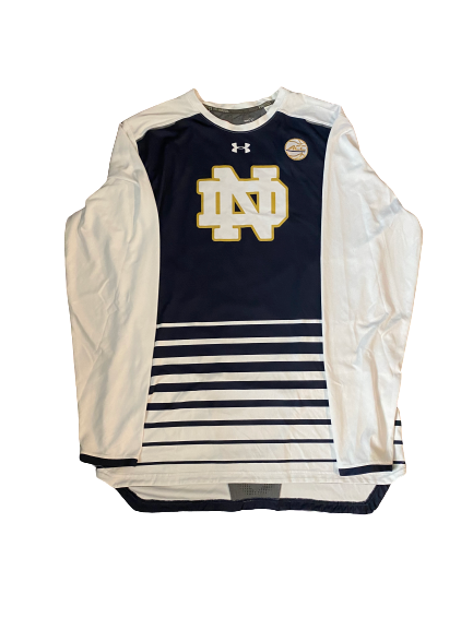 John Mooney Notre Dame Pre-Game Long Sleeve Warm-Up with ACC Patch (Size XXLT)