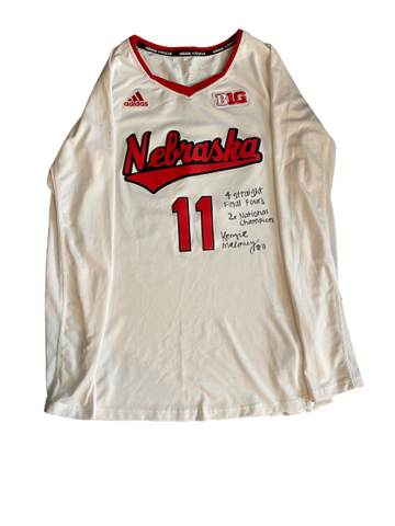 "Kenzie Maloney Nebraska Volleyball Signed 2017 & 2018 Season Game-Worn Jersey ""4 Straight Final Four's, 2x National Champion"""
