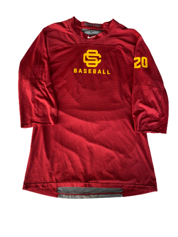 Austin Manning USC Team Issued Handcut 1/2 Sleeve Workout Shirt (Size L)