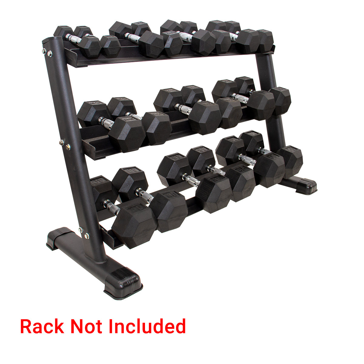 CGS 5-50lb Rubber Hex Dumbbell Set