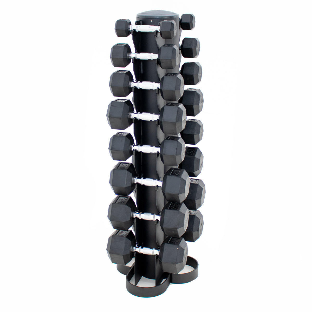 CGS 5-40lb Rubber Hex Dumbbell Set w/ Vertical Rack