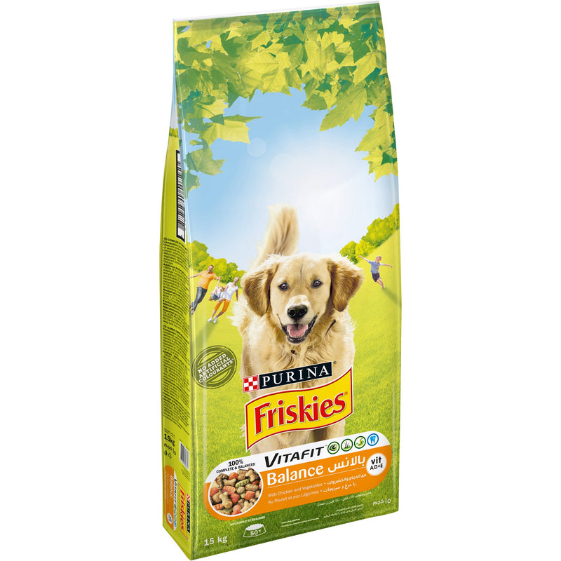 Purina Friskies Adult Dog VitaFit Balance with Chicken and vegetables Dog Dry Food 15Kg - Amin Pet Shop