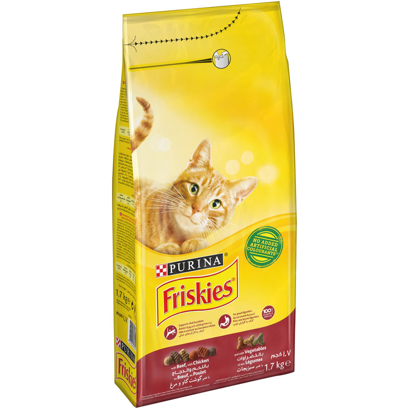 Purina Friskies with Beef, Chicken and Vegetables Cat Dry food 1.7Kg - Amin Pet Shop