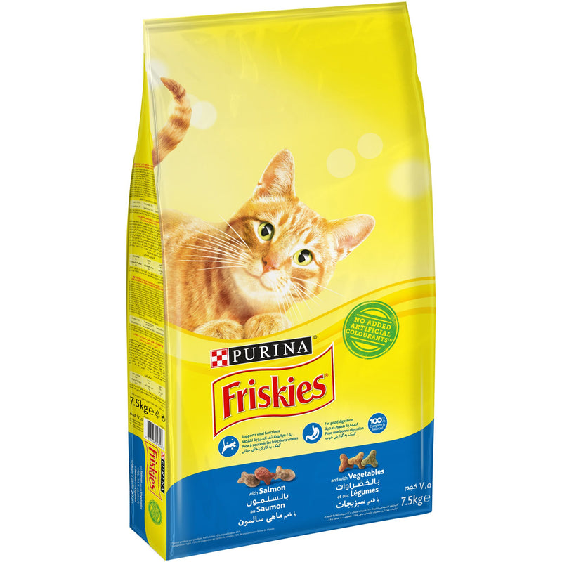 Purina Friskies with Salmon and with Vegetables Cat Dry Food 7.5Kg - Amin Pet Shop