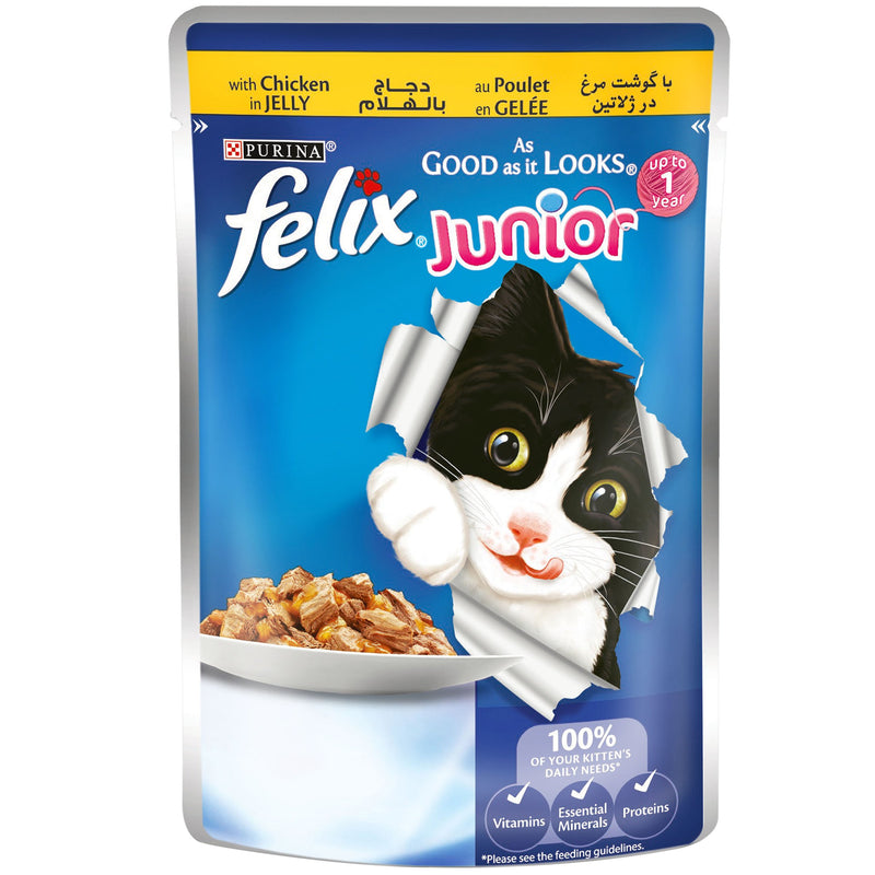 PURINA FELIX As Good as it Looks with Chicken in Jelly Wet Junior Cat Food Pouch 100g - Amin Pet Shop