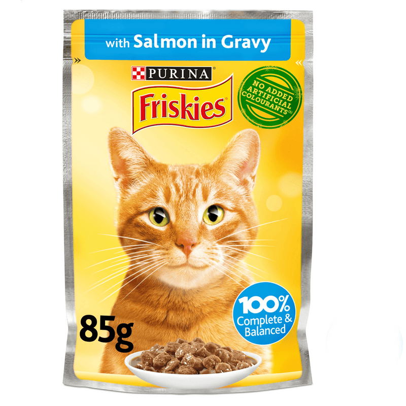 Purina Friskies Salmon Chunks in Gravy Wet Cat Food Pouch 85g - Amin Pet Shop